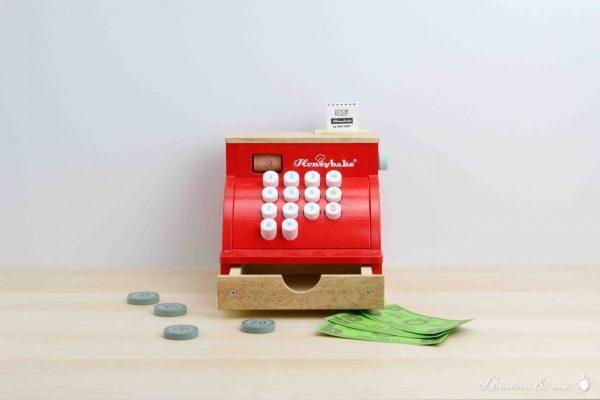 Caja registradora de madera con ticket, monedas y billetes - Le Toy Van