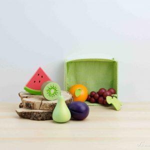 Cesta de tela con frutas variadas de madera - Tender Leaf
