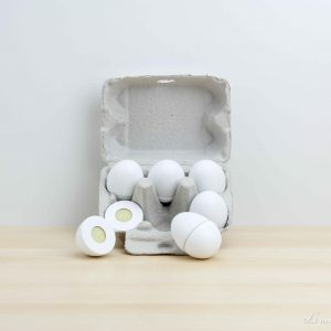Media docena de huevos de madera unidos con velcro - Jabadabado