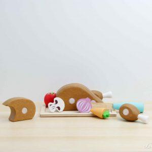 Pollo asado de madera con velcro con ingredientes - Le Toy Van