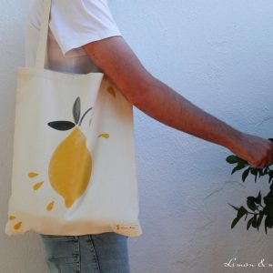 Chico con bolsa de la compra de algodón orgánico 100% - Limón & me