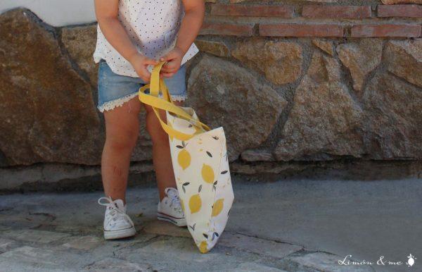 Bolsa de la compra infantil con estampado de patrón de limones - Limón & me