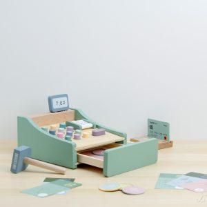 Caja registradora de madera con tarjeta y dinero de madera y papel - Little Dutch