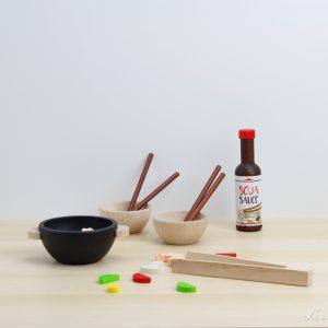 Set de comida asiática de madera - Erzi