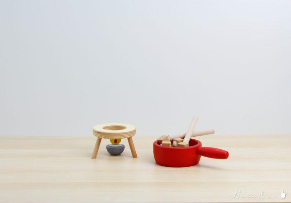 Set de fondue con vela de madera - Erzi