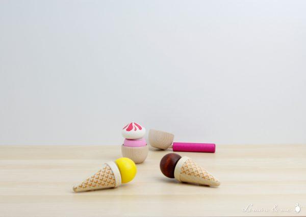 Set de helados de madera con cucuruchos y tarrina - Erzi
