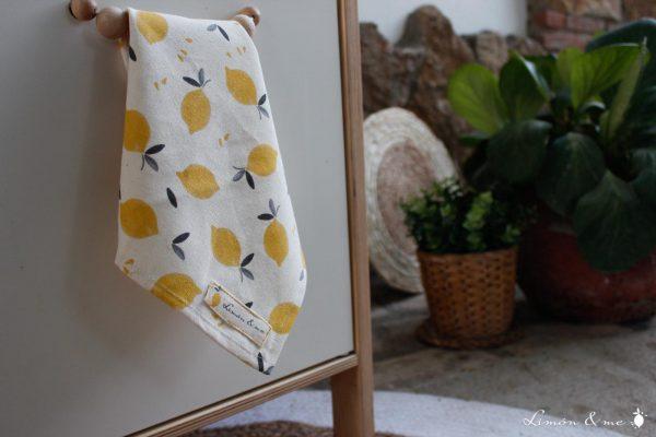 Trapo de cocina con estampado de limones de algodón orgánico - Limón & me